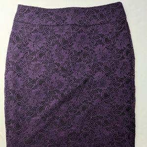 Banana Republic Sz 8 Purple Lace Skirt Lined